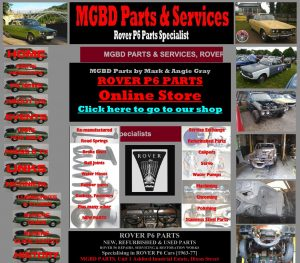 MGBD Parts & Services website home page.